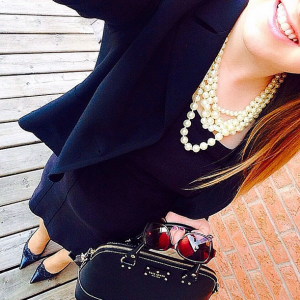 05/04/15 | Blazer, Jacob | Dress, Cleo | Shoes, Town Shoes | Purse, Kate Spade | Pearls, J Crew |