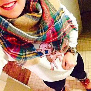1/12/14 | Reindeer Crewneck, American Eagle Outfitters | Plaid Blanket Scarf, Garage | Boots, Sorel | Watch, mark. by Avon |