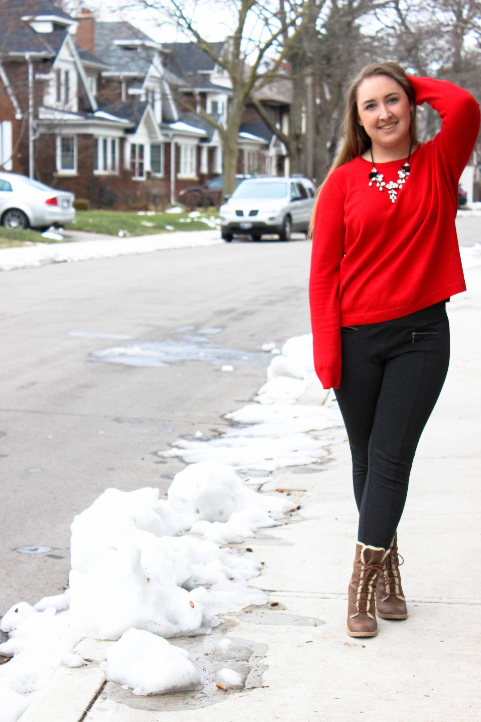 A Cozy Red Sweater - Pearls and Polkadots