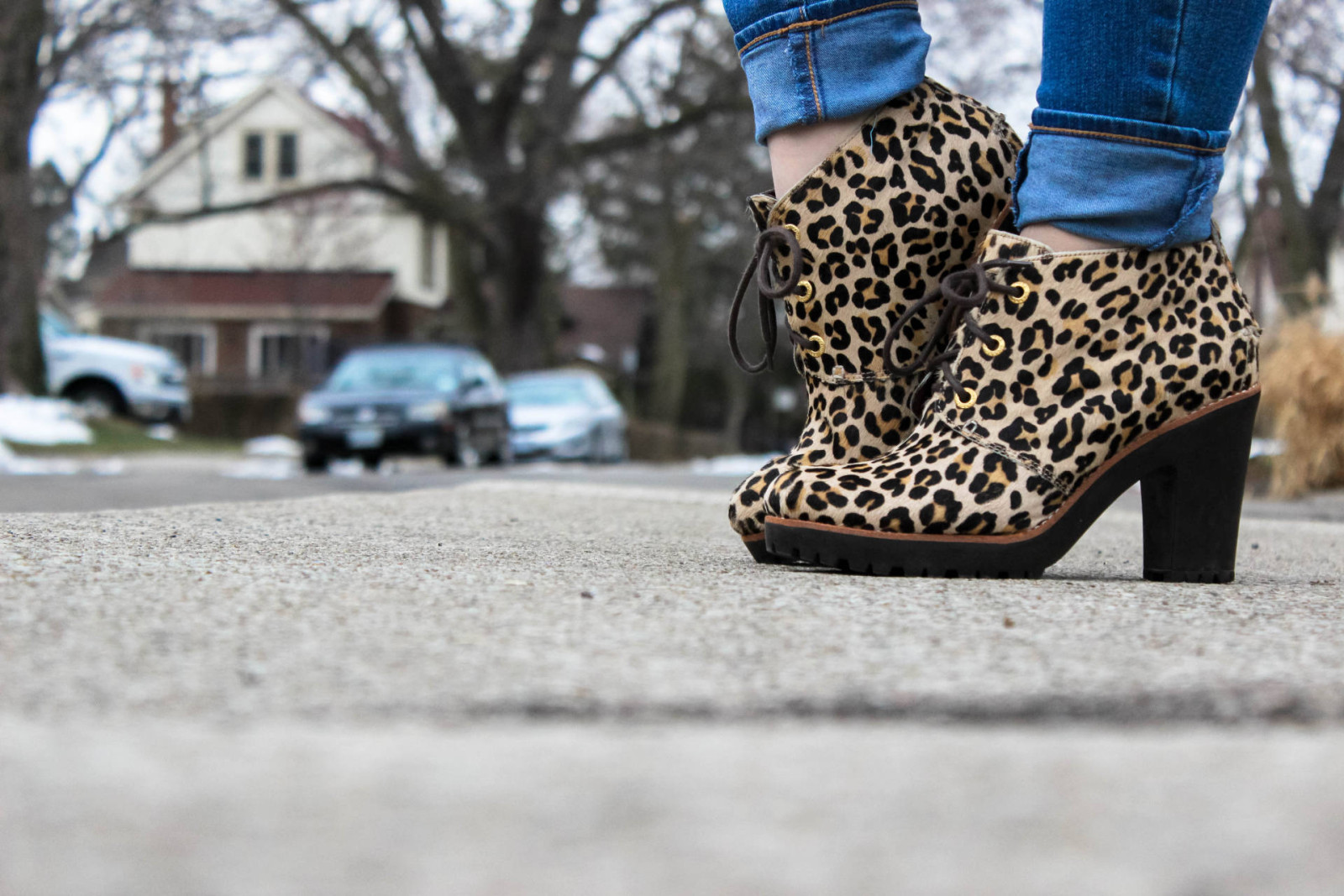 Leopard Booties + Velvet Turtleneck - Pearls and Polkadots