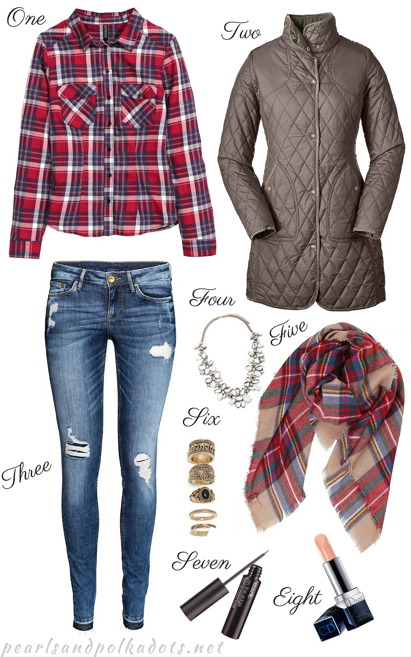 Plaid on Plaid Pattern Mixing - Pearls and Polkadots