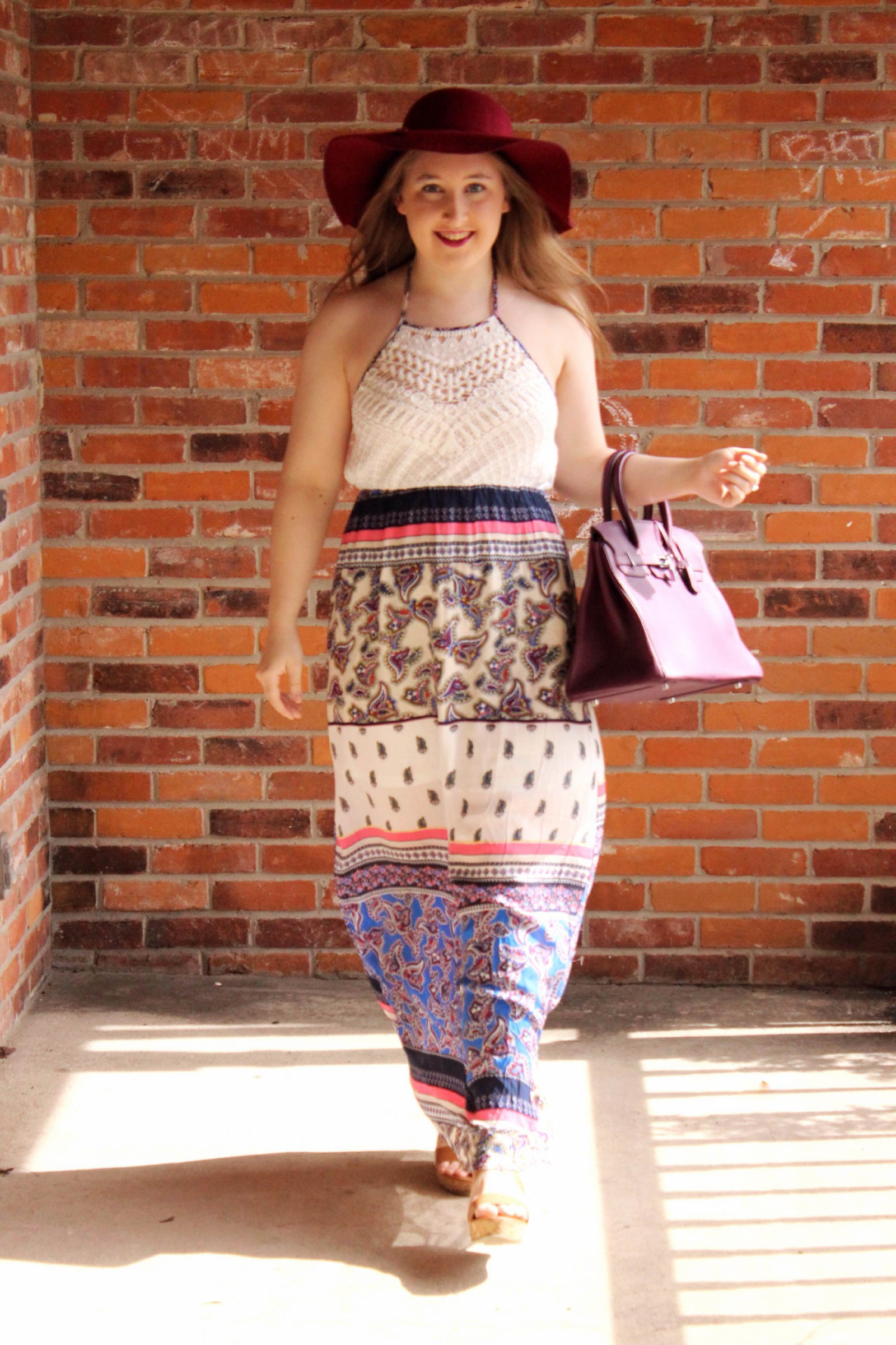 A Crochet Maxi Look w/ Pink Blush - Pearls and Polkadots