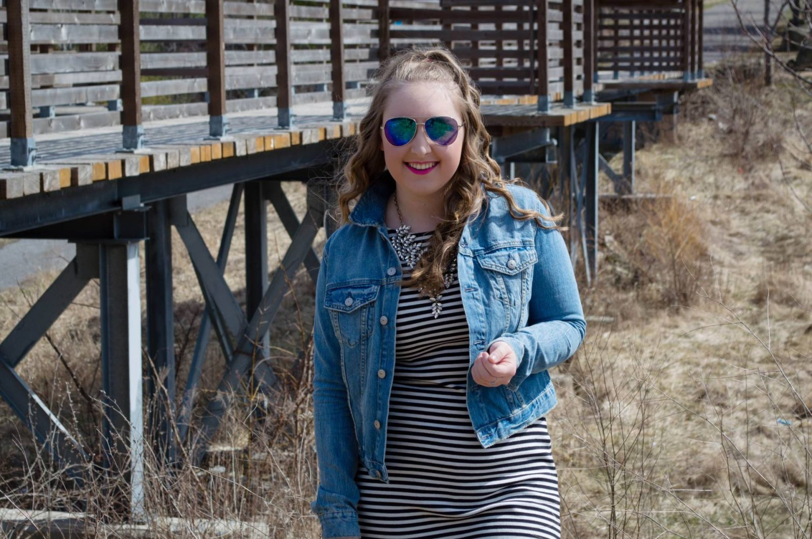 Striped Dress + Jean Jacket - Pearls and Polkadots