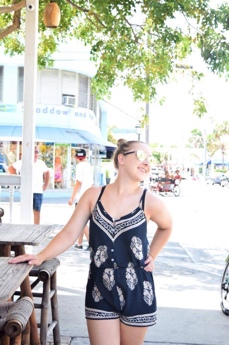Romping in Palm Leaf Print w/ Shein - Pearls and Polkadots